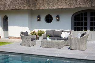 Borello loungeset zwart-grijs - wicker en Weather+ Softtouch - 5 personen