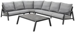 Zen'so loungeset zwart-grijs - aluminium en All Weather Sunbrella® Premium - 5 tot 6 personen