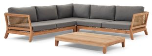 Cosito loungeset naturel-grijs - teak en all weather sunbrella® premium - 5 personen