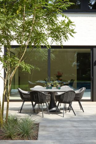 Fano tuinset (incl. kussens in All Weather Sunbrella®) zwart-zwart - tafelblad in keramiek - met 6  tuinstoelen