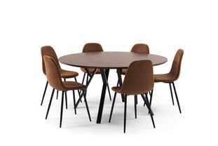 Ensemble de table Tommy noyer avec 6 chaises Carry