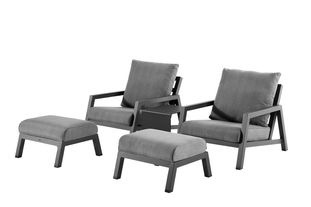Zen'so loungeset zwart-grijs - aluminium en Weather+ Softtextilene - 2 tot 4 personen