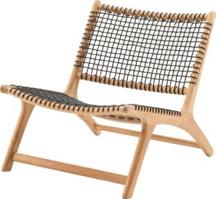Cosito relax tuinstoel naturel-zwart - teak en wicker - 1 persoon