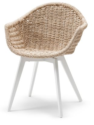 Pagino tuinstoel wit-natural - aluminium en wicker