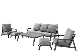 Zen'so loungeset wit-grijs - aluminium en All Weather Sunbrella® Premium - 5 tot 7 personen