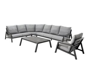 Zen'so loungeset zwart-grijs - aluminium en All Weather Sunbrella® Premium - 6 tot 7 personen