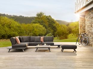Cesano loungeset (incl. kussens in All Weather Sunbrella® Luxe) zwart-grijs - aluminium en all weather sunbrella® luxe - 6 personen