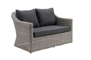 Borello lounge 2-zit zwart-grijs - wicker en Weather+ Softtouch