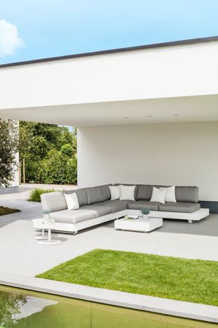 Tufo loungeset (incl. kussens in All Weather Sunbrella® Luxe) wit-grijs - aluminium en all weather sunbrella® luxe - 5 personen