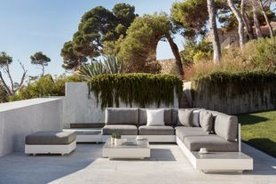 Como loungeset wit-grijs- aluminium en All Weather Sunbrella® Luxe - 5 à 6 personen