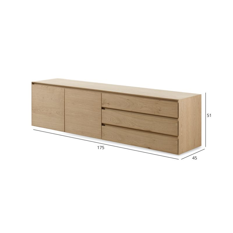 Arno dressoir in fineer eik - zwevend of staand