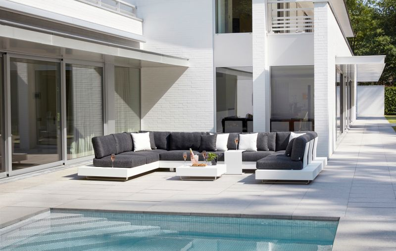 Tufo loungeset wit-grijs - aluminium en All Weather Sunbrella® Luxe - 7 à 9 personen