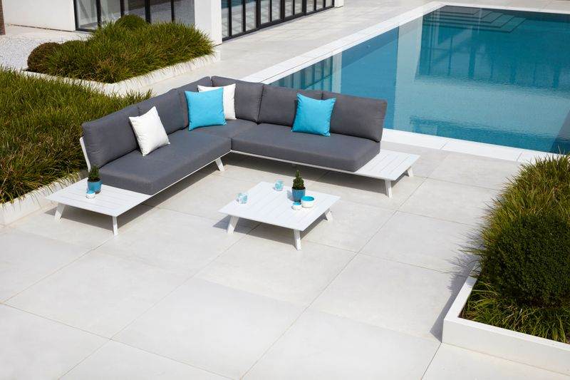 Puglia loungeset wit-grijs - aluminium en weather+ softtouch - 6 personen