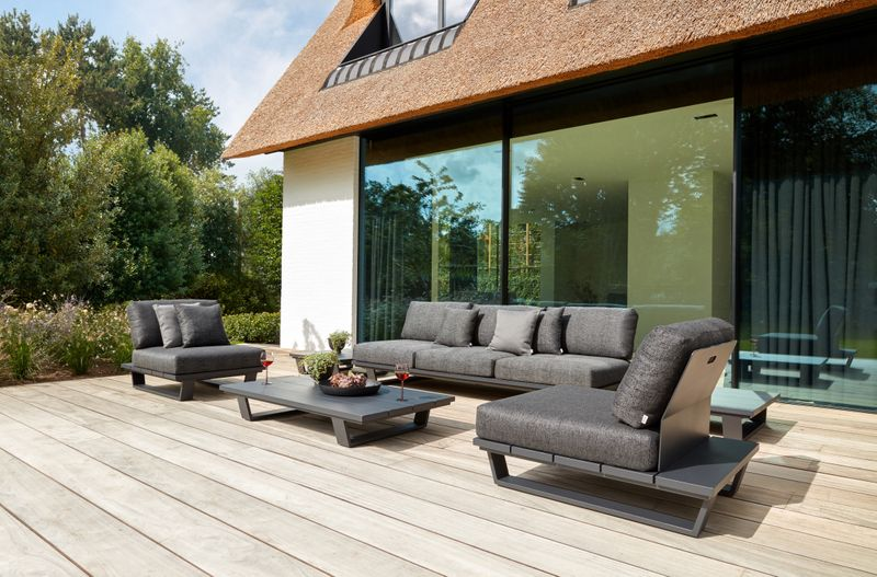 Pagino loungeset (incl. kussens in All Weather Sunbrella® Luxe) zwart-grijs - aluminium en all weather sunbrella® luxe - 5 personen