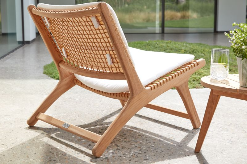 Cosito loungezetel natural - teak met rope