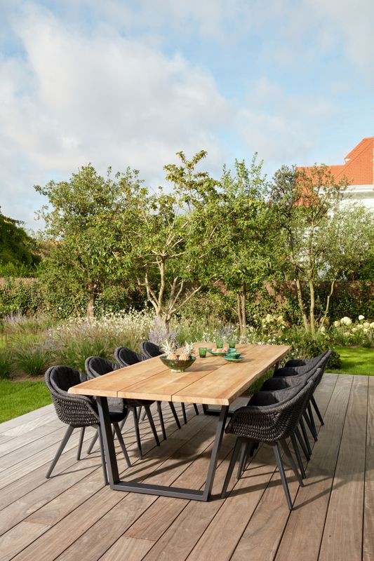 Pagino tuinset (incl. kussens in All Weather Sunbrella®) zwart-zwart - tafelblad in teak - met 8  tuinstoelen