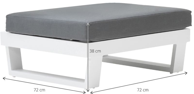 Modica lounge voetensteun wit-grijs - aluminium en single textileen -