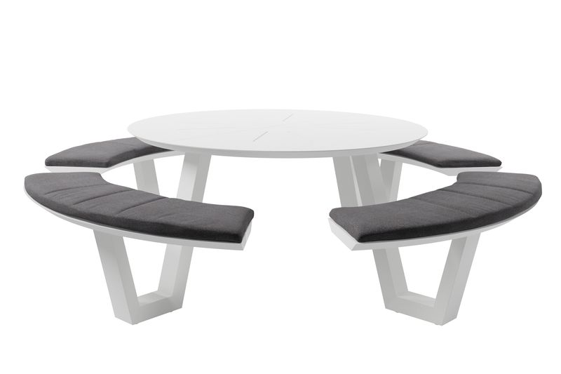 Rondino picknicktafel wit - aluminium inclusief zitkussens in Weather+ Softtouch
